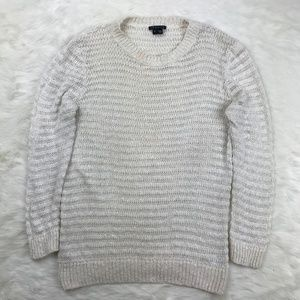 Theory Crew Neck Knitted Sweater Cream/White sz L